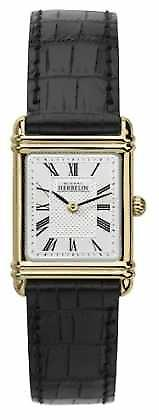 Michel Herbelin Womens Leather Strap Gold Tone Case Roman Num 17478/P08 Watch