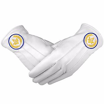 Masonic White Soft Leather Gloves Square Compass & G Yellow Blue