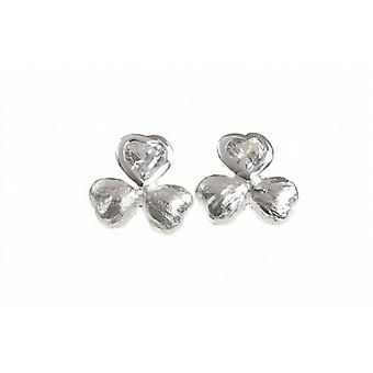 Cavendish French Brushed Sterling Silver and CZ Shamrock Earrings