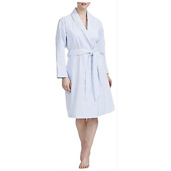 British Boxers Porthtowan Seersucker Mid Length Robe - Light Blue