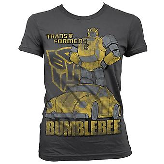 Women's Transformers Bumblebee Distressed Grey Fitted T-Shirt