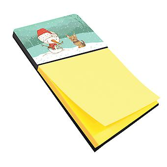 Yorkie Cropped Ears Snowman Christmas Sticky Note Holder