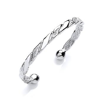 Jewelco London Boys Rhodium Plated Sterling Silver Barked Rope Link ID Torque Bangle Bracelet