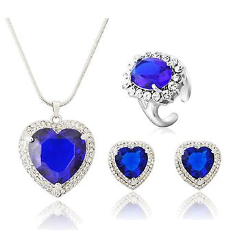 Platinum Plated Blue Cubic Zirconia Heart Set