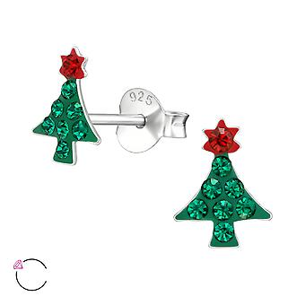 Christmas Tree crystal from Swarovski® - 925 Sterling Silver Ear Studs - W39042X