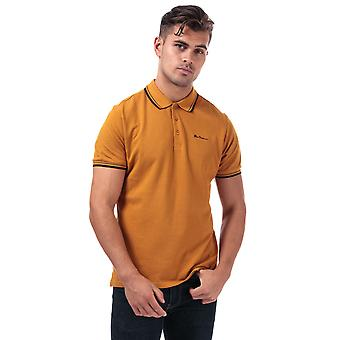 Hommes Ben Sherman Twin Tipped Polo Shirt In Gold- Short Sleeve- Ribbed Collar And