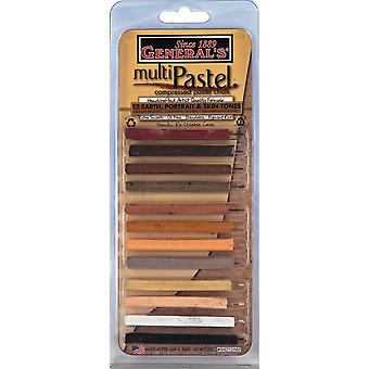 General's Multi Pastel Compressed Chalk Sticks 12 Pkg Earth Portrait Skin Tones 94012Abp