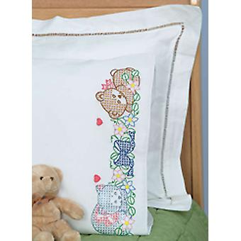 Children's Stamped Pillowcase With White Perle Edge 1 Pkg Now I Lay Me Down To Sleep 1605 42