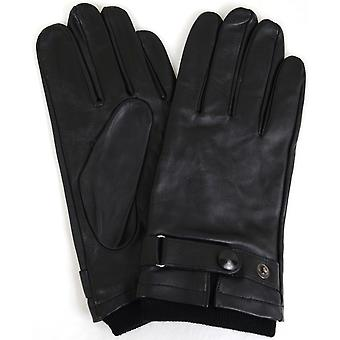 Leather Biker Stud Gloves - Black