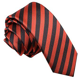 Men's Thin Stripe Black & Red Skinny Tie