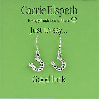 Carrie Elspeth Silver Good Luck Horse Shoe Sentiment Drop Earrings