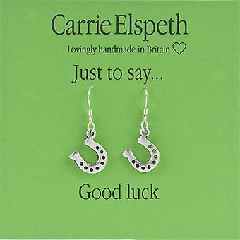 Orecchini di goccia di Carrie Elspeth Silver buona fortuna cavallo scarpa sentimento
