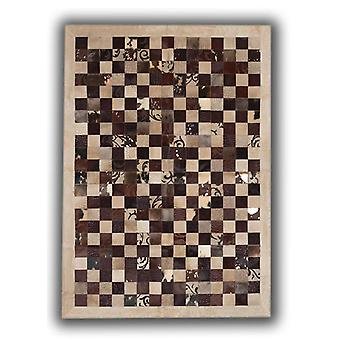 Rugs -Patchwork Leather Cubed Cowhide - Brown Grabados Beige Border