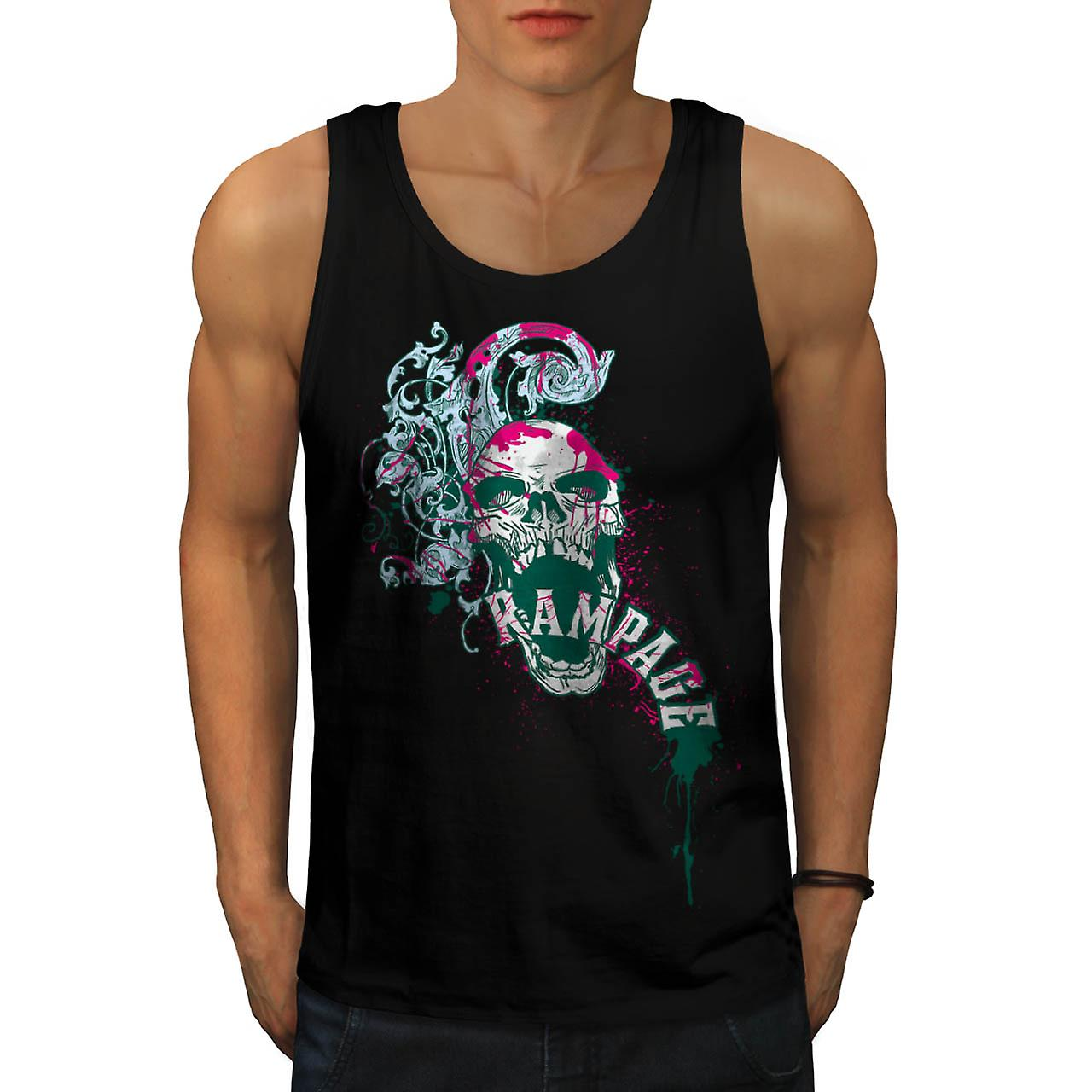 Rampage Metal Goth Skull Men Black Tank Top | Wellcoda