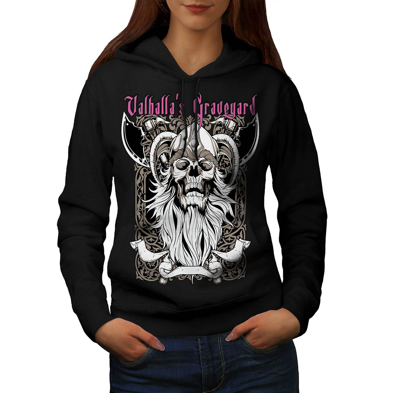 Valhalla Graveyard Monster Skull Women Black Hoodie | Wellcoda