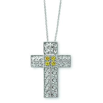 Sterling Silver Polished Spring Ring Rhodium-plated November Cubic Zirconia Cross Necklace - 18 Inch