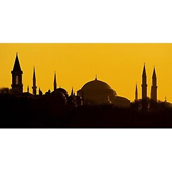 Silhouet van een moskee, Blauwe Moskee Istanbul Turkije Poster Print