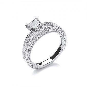 Cavendish French Silver and CZ Ornate Princess Cut Ring