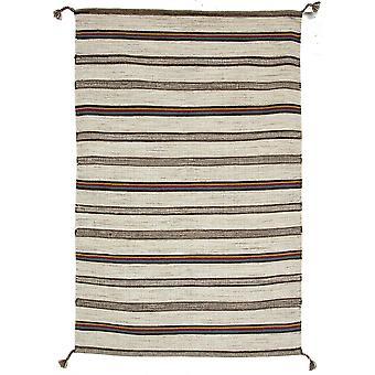 Modern Beige Striped Wool Rug Mensa