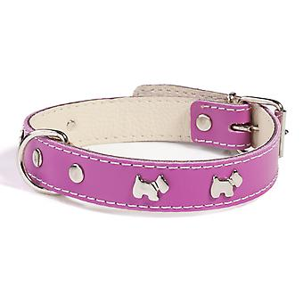 Doggy Things Westie Leather Dog Collar Plum 50cm
