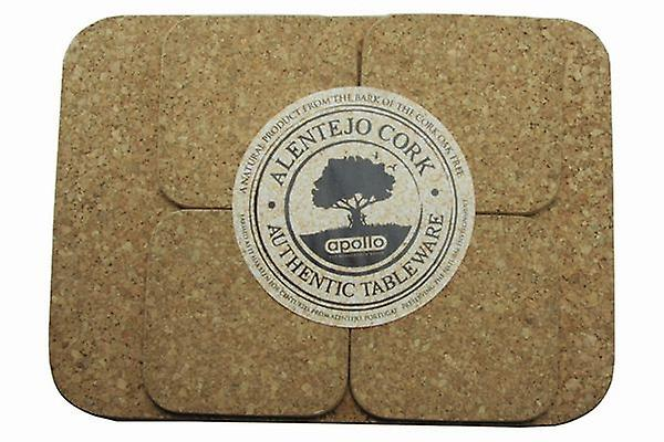 Set of 4 Cork Placemat and 4 Coasters for Plate and Mug Table Protection