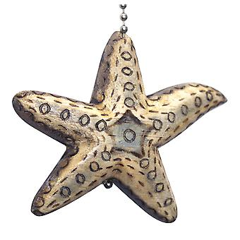 Coastal Starfish Hand Carved Wood Burned Wood Ceiling Fan Light Pull