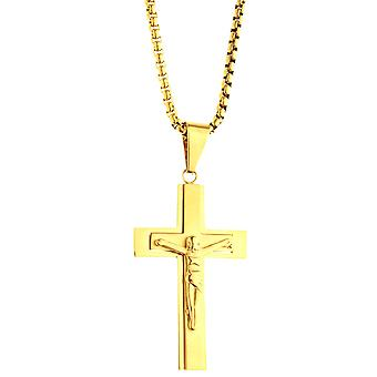 Iced out stainless steel pendant necklace - gold Jesus cross