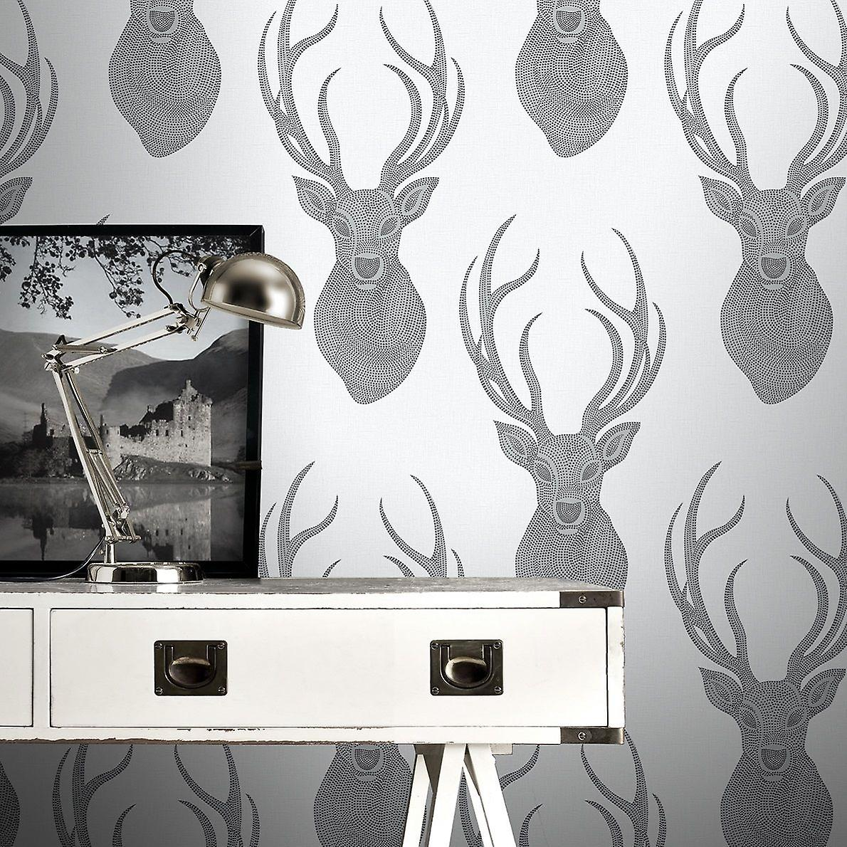 Stag Wallpaper Animal Print Glitter Textured White Black Silver Rasch