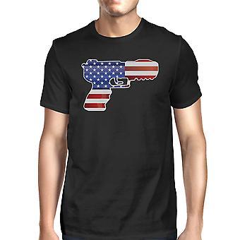 Pistole geformt amerikanische Flagge Mens Schwarzes T-Shirt für Gun-Anhänger