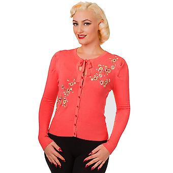 Banned - LAST DANCE - Long Sleeve Embroidered Cropped Cardigan, Coral
