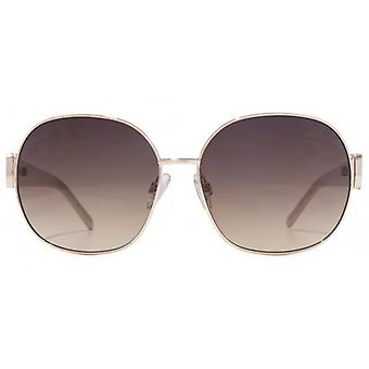 Carvela Metal Round With Plastic Temple Sunglasses In Rose Gold Nude