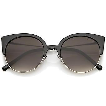 Women's Half Frame Cat Eye Sunglasses Ultra Slim Arms Round Flat Lens 53mm