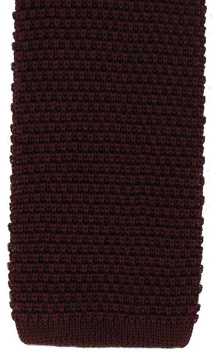 Michelsons of London Silk Knitted Tie - Burgundy