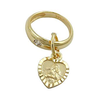 Christening jewellery gold 375 baptism trailer trailer, christening ring with heart, 9 KT GOLD