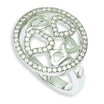 Sterling Silver Rhodium-plated and Cubic Zirconia Polished Heart Ring - Ring Size: 6 to 8
