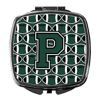 Letter P Football Green and White Compact Mirror