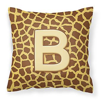 Monogram Initial B Giraffe Decorative   Canvas Fabric Pillow CJ1025