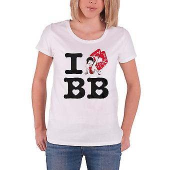 Betty Boop T Shirt I Love Betty Boop new Official Womens Skinny Fit White