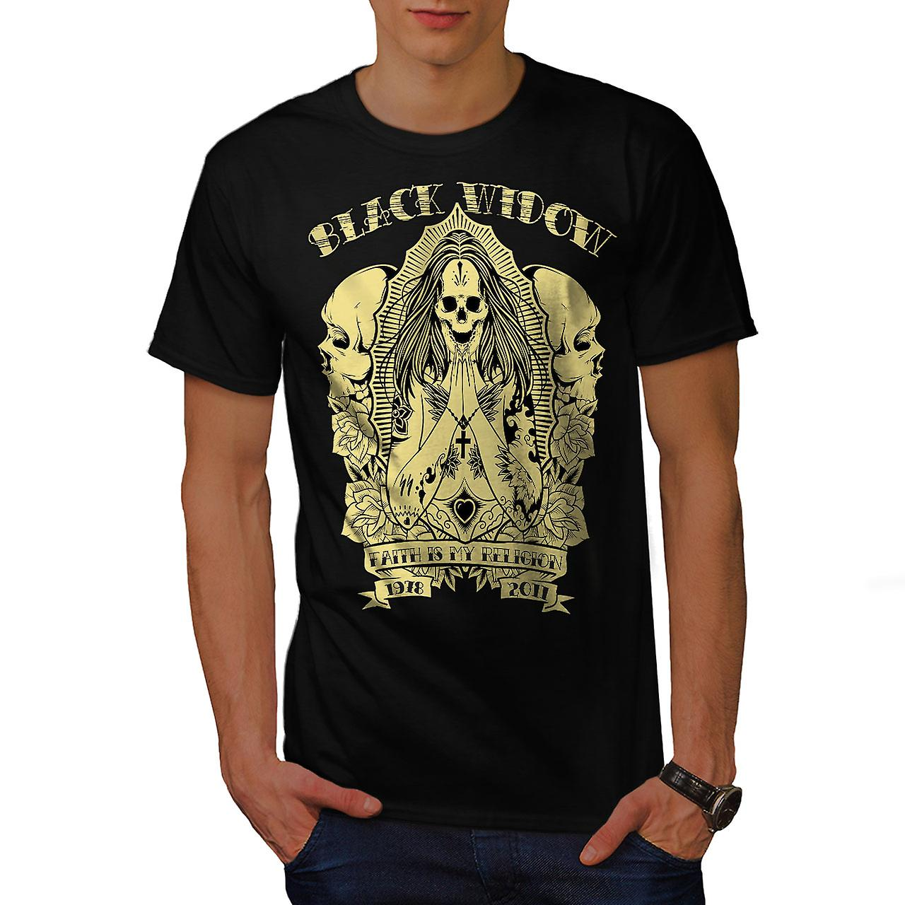 Black Skull Goth Vintage Men Black T-shirt | Wellcoda