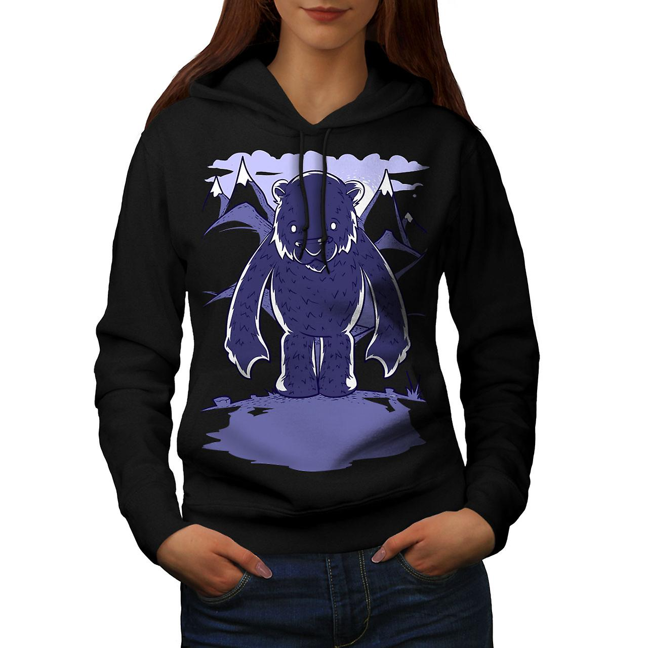 White Bear Cartoon Animal Women Black Hoodie | Wellcoda