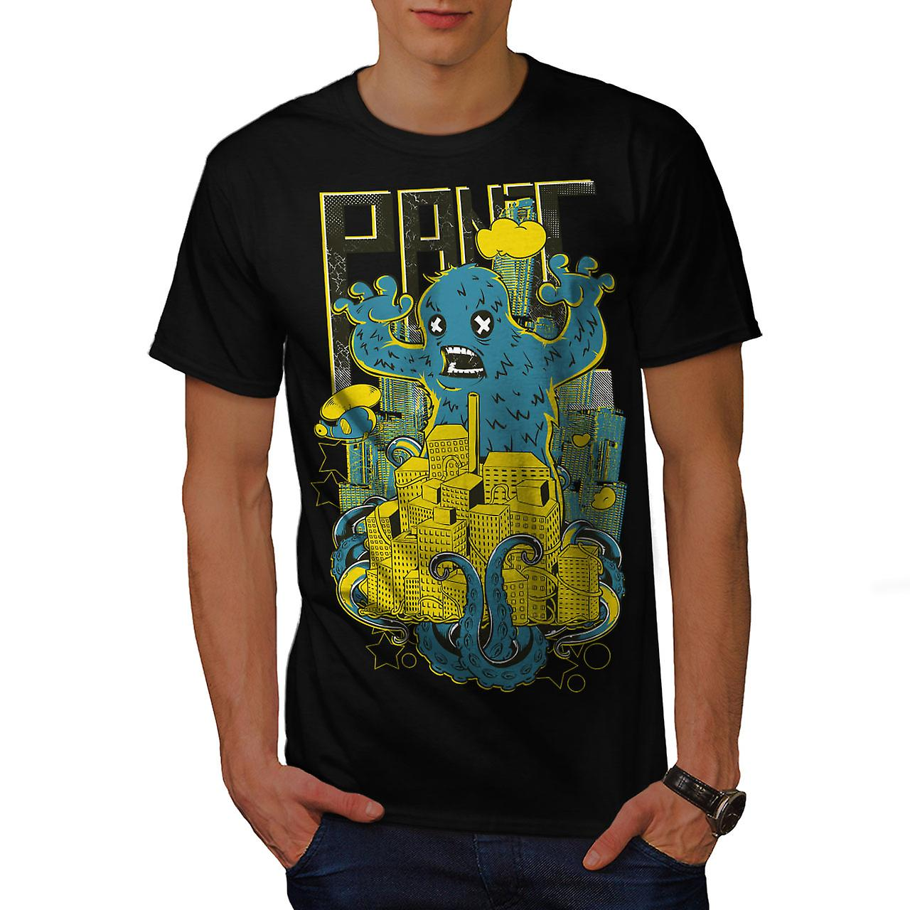 Panic Monster City Horror Men Black T-shirt | Wellcoda