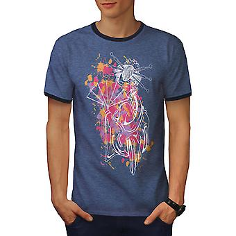 Art Girl Woman Men Heather Blue / NavyRinger T-shirt | Wellcoda