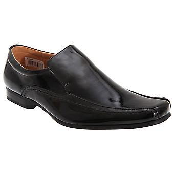 Goor Mens Tramline Leather Quarter Lining Patent Shoes