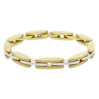 Double-sided bicolor gold hinge bracelet