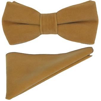 Luxury Tawny Brown Velvet Bow Tie & Pocket Square Set