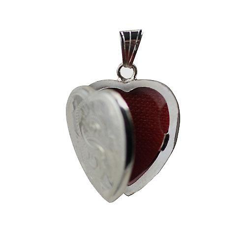 Silver 24x20mm hand engraved heart shaped Locket