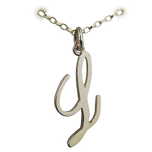 9ct Gold 26x13mm plain Initial L Pendant with a belcher Chain 16 inches Only Suitable for Children