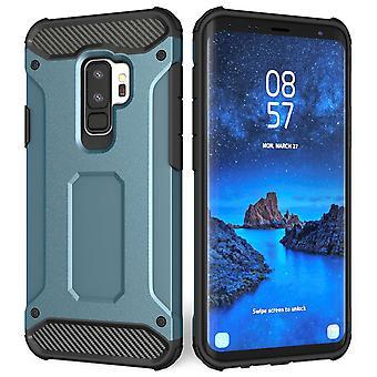 Samsung Galaxy S9 Plus gepantserde schokbestendige Carbon Case - Blue