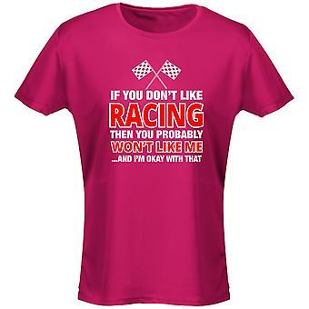 Si no te gusta Racing no quiere mujeres camiseta 8 colores (8-20) por swagwear
