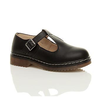 Ajvani womens flat low heel mary jane t-bar geek buckle chunky smart work shoes